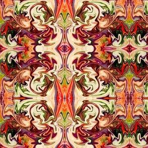 Abstract Swirls Reflected - Rust/Orange/Purple