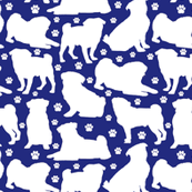 "Pugs n Paws on Blue - Small (2"")"