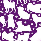 "Pugs n Paws on Purple - Large (3"")"