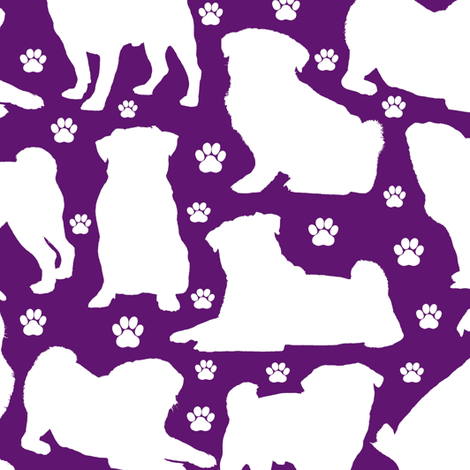 Pugs n Paws - Purple // Large fabric by thinlinetextiles on Spoonflower - custom fabric