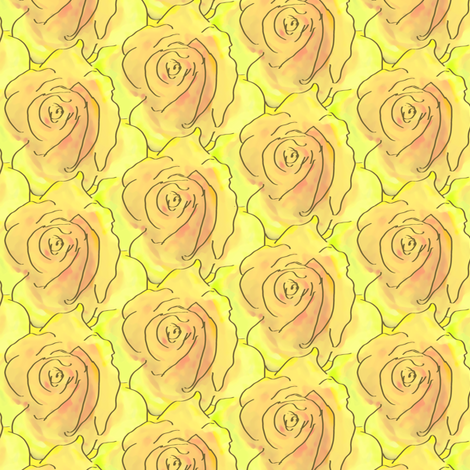A Stack of Roses - Sunshine fabric by inscribed_here on Spoonflower - custom fabric