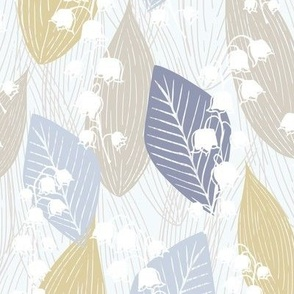 Leafy Lily of the Valley in Blue and Gold
