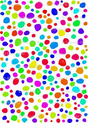 Rainbow Confetti on Snowy White - Tiny Dots