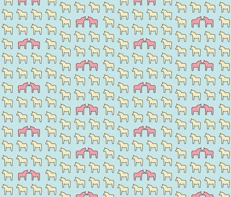 Swedish Dala horses / kids nursery baby folk design fabric by fikacraft on Spoonflower - custom fabric