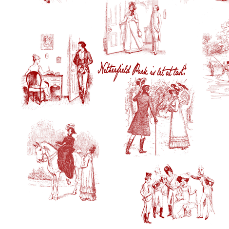 Pride and Prejudice Toile Red fabric by abucksworth on Spoonflower - custom fabric
