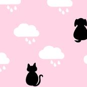 Raining Cats & Dogs - Pink & Black