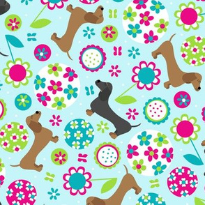 Dachshund Garden Party (Light Blue)