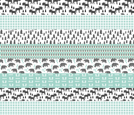 moose quilt // crib bedding baby cheater quilt wholecloth mint ... : baby boy quilt fabric - Adamdwight.com