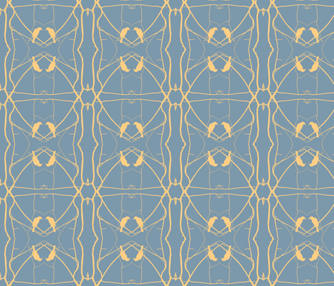 Robin Pattern 2 (Slate & Yellow) fabric by belovedsycamore on Spoonflower - custom fabric