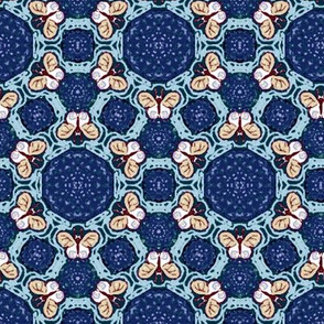 Royal and Sky Blue Hexagon Butterflies