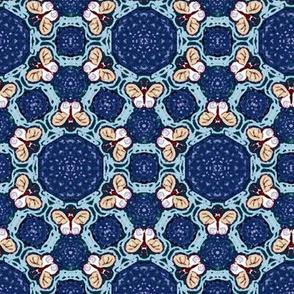 Royal and Sky Blue Hexagon Butterflies
