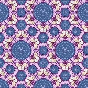 Slate Blue and Pink Hexagon Butterflies