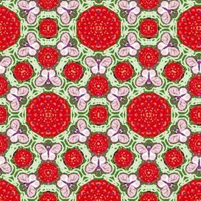 Red and Green Hexagon Butterflies