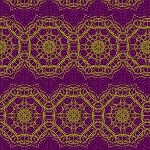 Gold Filigree Lace Ribbons On Crushed Grape