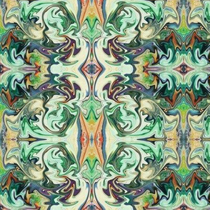BNS3 - Marbled Mystery Swirling Tapestry in greens, rusty orange, cream