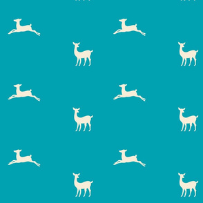 Deer 2 - turquoise cream