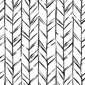 Hand-drawn Herringbone White