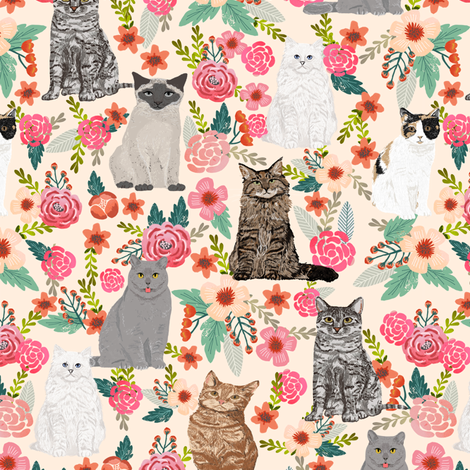 cats in flowers garden florals watercolor flowers florals spring cream cat lady cats fabric fabric by petfriendly on Spoonflower - custom fabric