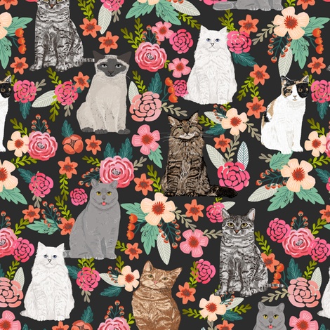 cat garden flowers florals vintage style watercolor flowers spring summer cute cats cat lady kitten kitty cat pet cat fabric fabric by petfriendly on Spoonflower - custom fabric