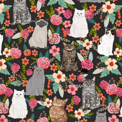 cat garden flowers florals vintage style watercolor flowers spring summer cute cats cat lady kitten kitty cat pet cat fabric