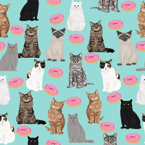 cats and donuts cat cute pet donuts donut food mint pink sweet cats  fabric by petfriendly on Spoonflower - custom fabric