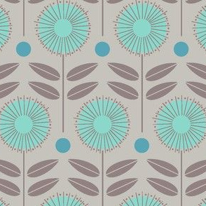 flower shower - blue and gray