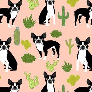 boston terrier dogs dog pink cactus cacti kids summer pink girls sweet dog print