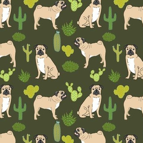 pugs and cactus pug dog dogs dog cactus tropical trendy plants green dog