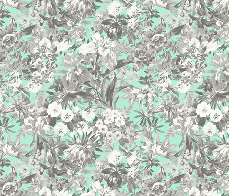 Garden Bouquet Grey Tones fabric by littlerhodydesign on Spoonflower - custom fabric