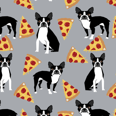 boston terrier dog pizza grey pizzas food trendy hipster dog fabric fabric by petfriendly on Spoonflower - custom fabric