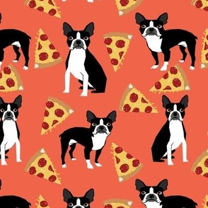 boston terriers pizza orange salmon trendy hipster dogs and pizza fabric for home projects crafts quilts cute dogs pet dog fabric