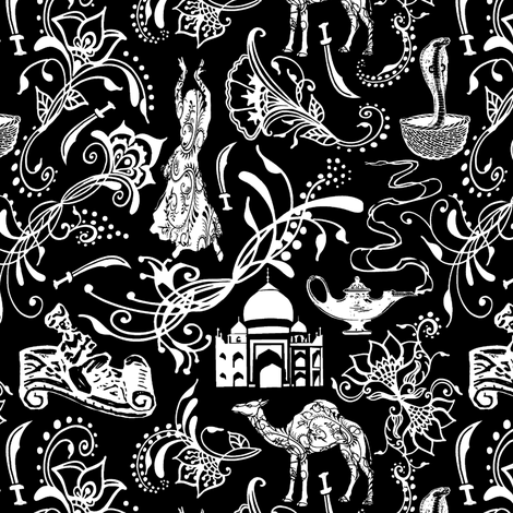 Arabian Nights on Black // Small-size fabric by thinlinetextiles on Spoonflower - custom fabric