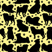 "Pugs n Paws on Yellow - Small (2"")"