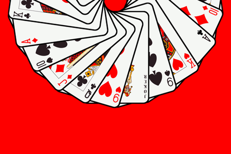 Playing_cards_ring_red_background fabric by stradling_designs on Spoonflower - custom fabric