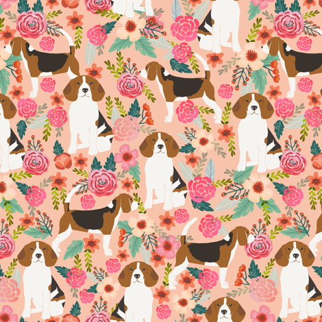 beagle flowers florals beagles pets pet dog dogs cute  fabric by petfriendly on Spoonflower - custom fabric
