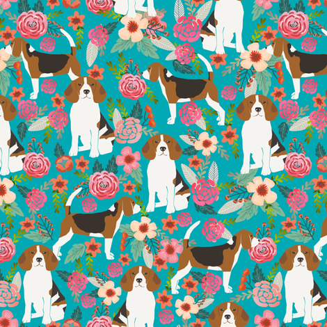 beagle beagles cute dogs dog beagle owners florals flowers spring turquoise cute dogs dog pet dog fabric by petfriendly on Spoonflower - custom fabric
