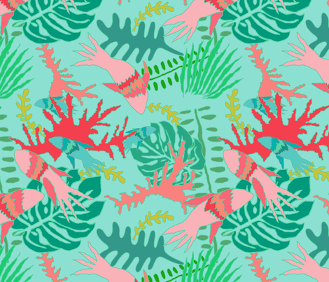 Coral_Fish_Under_The_Sea fabric by paper_and_frill on Spoonflower - custom fabric