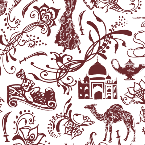 Arabian Nights in Auburn // Large-size fabric by thinlinetextiles on Spoonflower - custom fabric