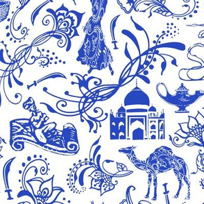 Arabian Nights in China Blue // Large-size