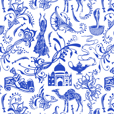 Arabian Nights in China Blue // Small-size fabric by thinlinetextiles on Spoonflower - custom fabric