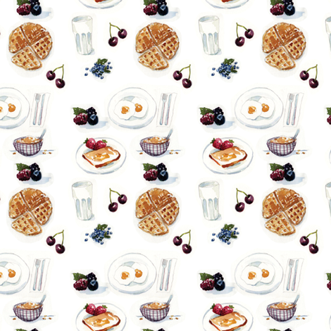 Watercolor Breakfast fabric by julieprescesky on Spoonflower - custom fabric