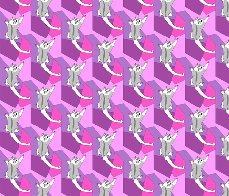 sugar glider pink purple fabric by dichroic on Spoonflower - custom fabric