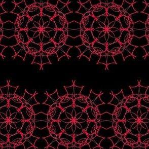 Lacy Crimson Flowers on Deep Black