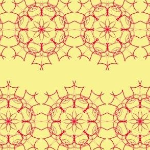 Lacy Crimson Flowers on Buttery Yellow