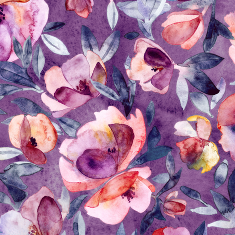 May Afternoon purple and peach watercolor floral fabric by micklyn on Spoonflower - custom fabric