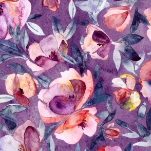 May Afternoon purple and peach watercolor floral - large