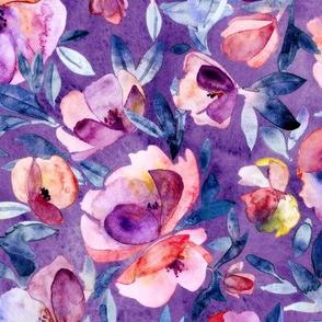Garden Shadows watercolor floral in pink, blue, purple