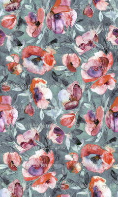 Winter Evening Watercolor Floral In Grey Coral Rust