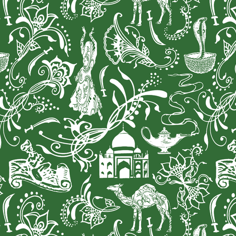 Arabian Nights on Parsley Green // Small-size fabric by thinlinetextiles on Spoonflower - custom fabric