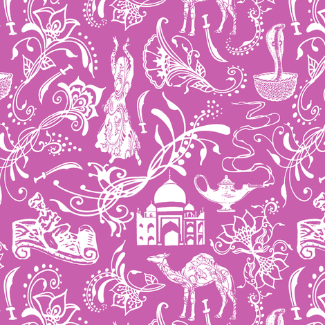 Arabian Nights on Fuchsia // Small-size fabric by thinlinetextiles on Spoonflower - custom fabric